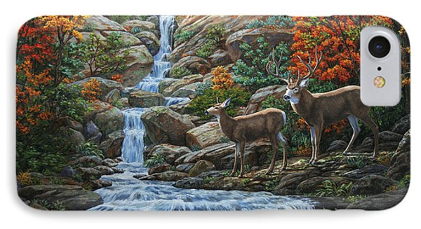 Deer Painting - Tranquil Deer Cove IPhone Case by Crista Forest