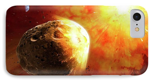 Deflecting A Near-earth Asteroid IPhone Case by Mark Garlick