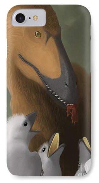 Deinonychus Dinosaur Feeding Its Young Phone Case by Michele Dessi
