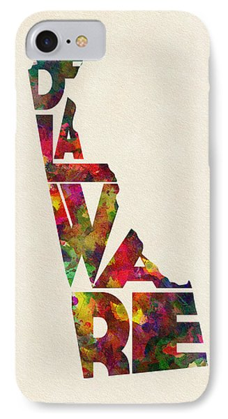 Delaware Typographic Watercolor Map IPhone Case by Ayse Deniz