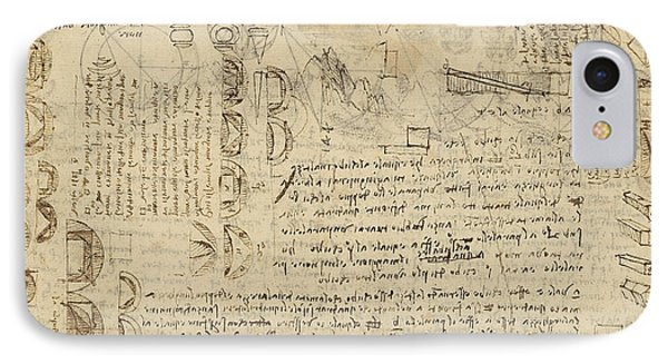 Delian Problem Or Doubling Cube Equivalence Among Various Parts Of Circle From Atlantic Codex  Phone Case by Leonardo Da Vinci