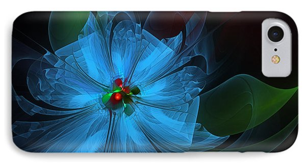 Delicate Blue Flower-fractal Art Phone Case by Karin Kuhlmann
