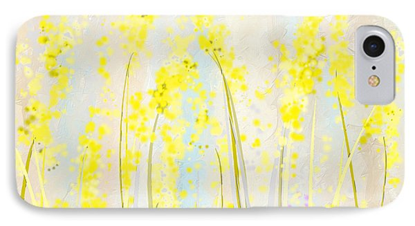 Delicately Soft- Yellow And Cream Art IPhone Case by Lourry Legarde
