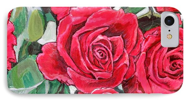 IPhone Case featuring the painting Delight Of Grandma's Roses Painting by Kimberlee Baxter