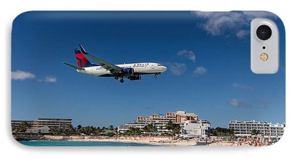 Delta 737 St. Maarten Landing IPhone Case by David Gleeson