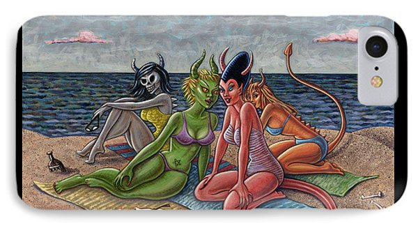 Demon Beaches IPhone Case by Holly Wood