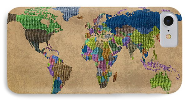 Denim Map Of The World Jeans Texture On Worn Canvas Paper IPhone Case by Design Turnpike