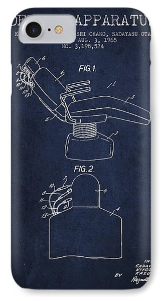 Dental Apparatus Patent From 1965 - Navy Blue IPhone Case by Aged Pixel