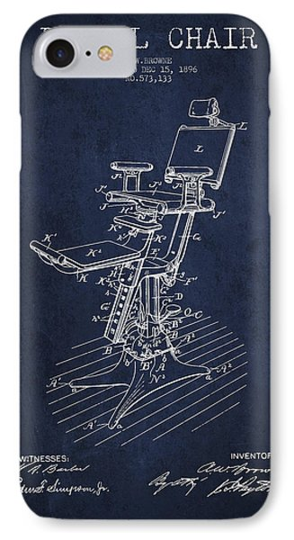 Dental Chair Patent Drawing From 1896 - Navy Blue IPhone Case by Aged Pixel