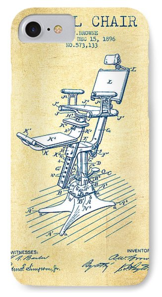 Dental Chair Patent Drawing From 1896 - Vintage Paper IPhone Case by Aged Pixel