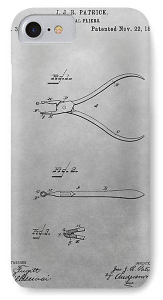 Dental Pliers Patent Drawing IPhone Case by Dan Sproul