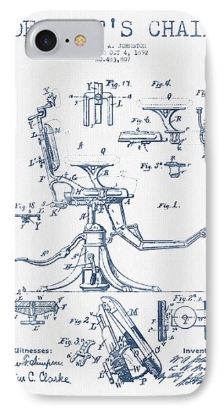Dentist Chair Patent Drawing From 1892 - Blue Ink IPhone Case by Aged Pixel