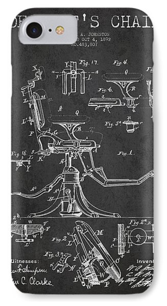 Dentist Chair Patent Drawing From 1892 - Dark IPhone Case by Aged Pixel