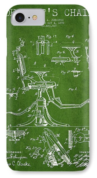 Dentist Chair Patent Drawing From 1892 - Green IPhone Case by Aged Pixel
