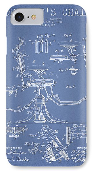 Dentist Chair Patent Drawing From 1892 - Light Blue IPhone Case by Aged Pixel