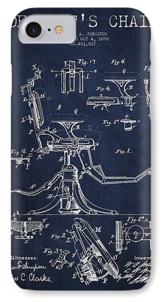 Dentist Chair Patent Drawing From 1892 - Navy Blue IPhone Case by Aged Pixel