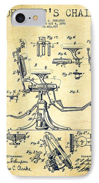 Dentist Chair Patent Drawing From 1892 - Vintage IPhone Case by Aged Pixel