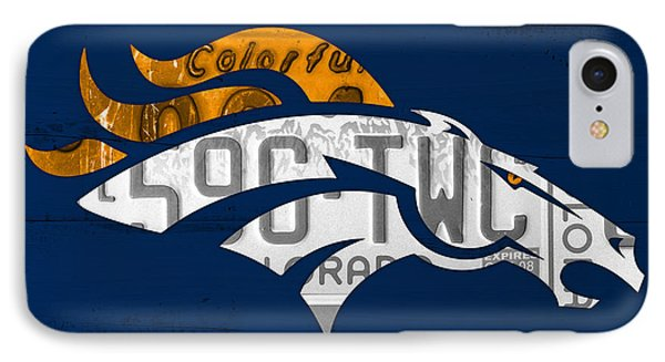 Denver Broncos Football Team Retro Logo Colorado License Plate Art IPhone Case by Design Turnpike