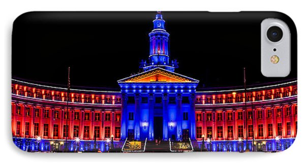 Denver City And Country Building In Bronco Blue And Orange IPhone Case