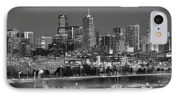 IPhone Case featuring the photograph Denver Skyline At Dusk Black And White Bw Evening Panorama Broncos Colorado  by Jon Holiday