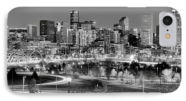 IPhone Case featuring the photograph Denver Skyline At Dusk Evening Bw Black And White Evening Panorama Broncos Colorado  by Jon Holiday
