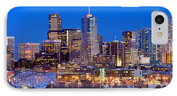 IPhone Case featuring the photograph Denver Skyline At Dusk Evening Color Evening Extra Wide Panorama Broncos by Jon Holiday