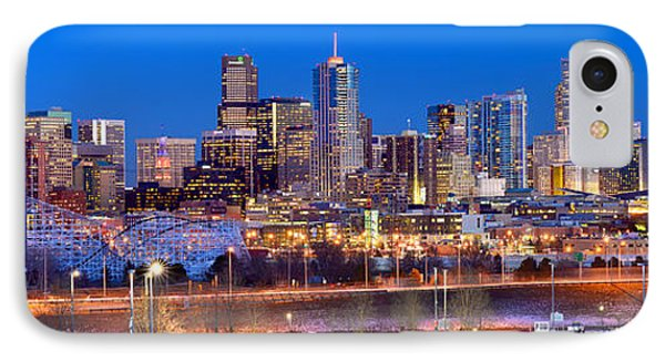 IPhone Case featuring the photograph Denver Skyline At Dusk Evening Color Evening Panorama Broncos Colorado  by Jon Holiday