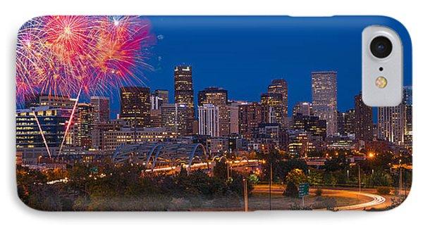 Denver Skyline Fireworks IPhone Case