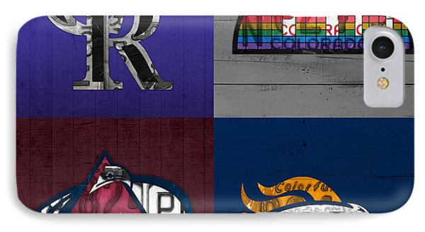 Denver Sports Fan Recycled Vintage Colorado License Plate Art Rockies Nuggets Avalanche Broncos IPhone Case by Design Turnpike