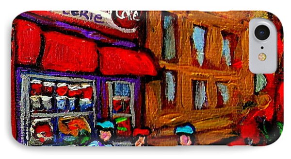 Depanneur  Marche Epicerie Montreal Summer Street Hockey Painting South West City Scene Phone Case by Carole Spandau