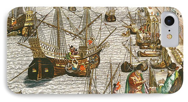 Departure From Lisbon For Brazil Phone Case by Theodore de Bry