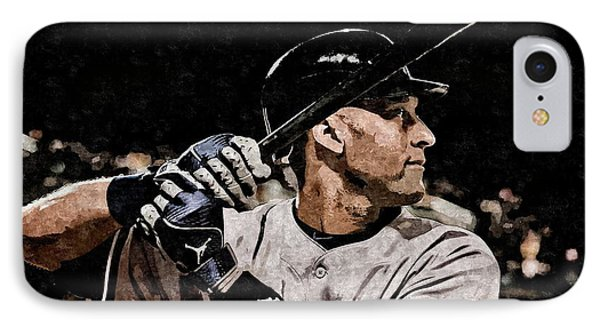 Derek Jeter On Canvas IPhone Case by Florian Rodarte