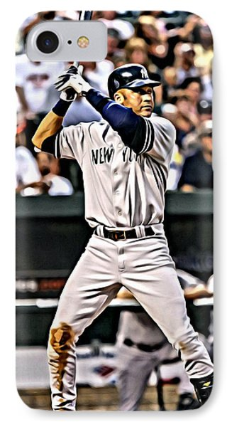 Derek Jeter Painting IPhone Case by Florian Rodarte