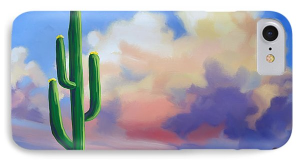 IPhone Case featuring the painting Desert Cactus At Sunset by Tim Gilliland
