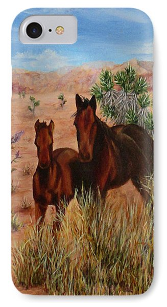 IPhone Case featuring the painting Desert Horses by Roseann Gilmore