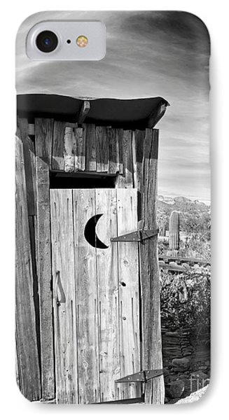 Desert Outhouse Under Stormy Skies IPhone Case by Lee Craig