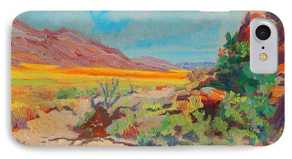 IPhone Case featuring the painting Desert Spring Flowers Namaqualand With Rock Outcrop by Thomas Bertram POOLE