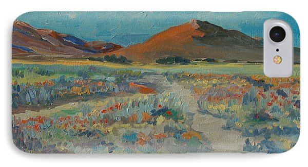 IPhone Case featuring the painting Desert Spring Flowers With Orange Hill by Thomas Bertram POOLE