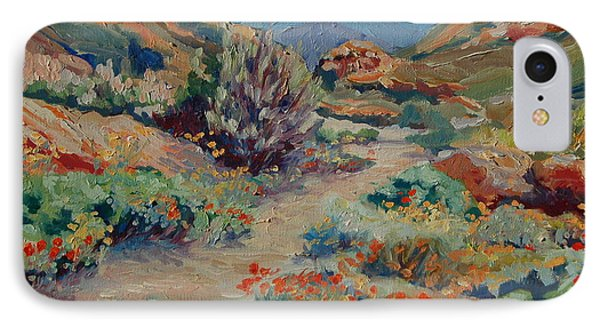 IPhone Case featuring the painting Desert Spring Flowers With Path by Thomas Bertram POOLE