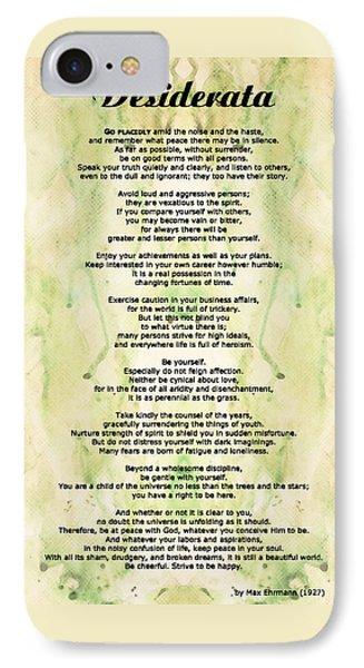 Desiderata 5 - Words Of Wisdom Phone Case by Sharon Cummings