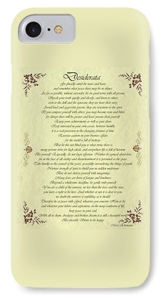 Desiderata Gold Bond Scrolled IPhone Case by Movie Poster Prints