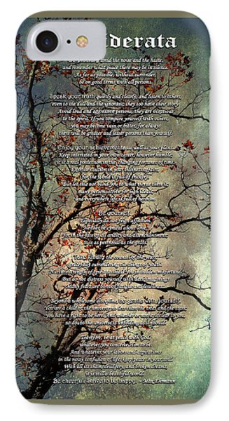 Desiderata Inspiration Over Old Textured Tree IPhone Case