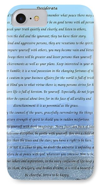 Desiderata On Beach And Ocean Scene IPhone Case by Barbara Griffin