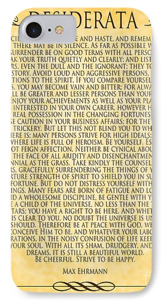 IPhone Case featuring the digital art Desiderata - Parchment Design by Ginny Gaura