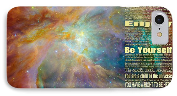 Desiderata - Space IPhone Case by Ginny Gaura