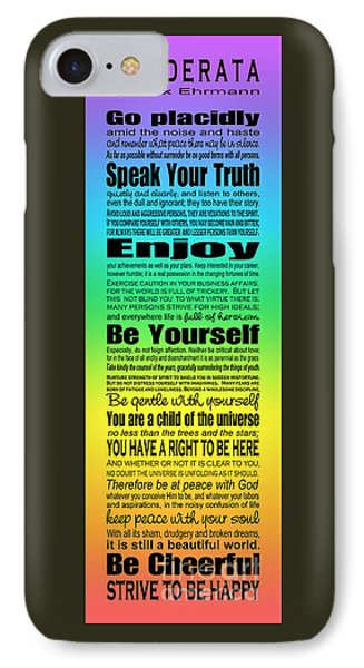 IPhone Case featuring the digital art Desiderata - Subway Style - Rainbow by Ginny Gaura