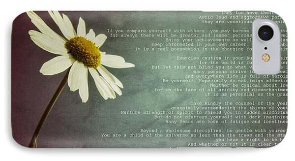 Desiderata With Daisy IPhone Case by Marianna Mills