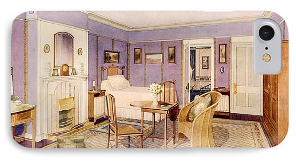Design For The Interior Of A Bedroom IPhone Case by Richard Goulburn Lovell
