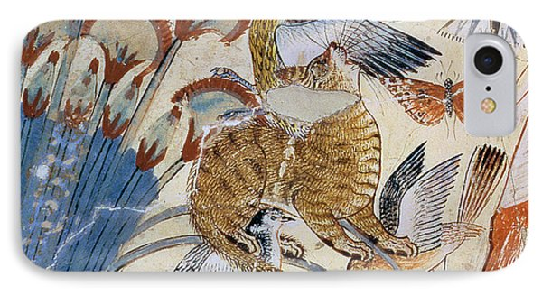 Detail Of A Cat, From Nebamun Hunting In The Marshes With His Wife An Daughter, Part Of A Wall IPhone Case by Egyptian 18th Dynasty