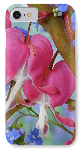 Detail Of Bleeding Hearts And Brunnera IPhone Case by Jaynes Gallery